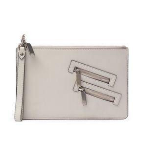 REBECCA MINKOFF Putty Leather Wristlet Pouch